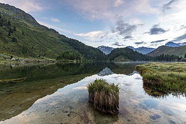 Sunrise at Lake Cavloc, Maloja Pass, Bregaglia Valley, Engadine, Canton of Graubunden, Switzerland, Europe