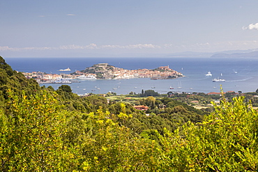 Old village of Porto Azzurro on promontory, Elba Island, Livorno Province, Tuscany, Italy, Europe