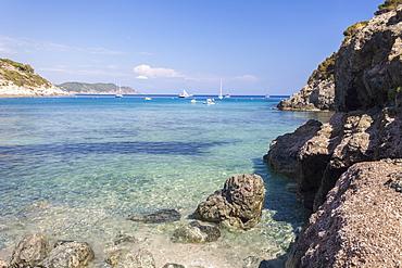 Sailboats in the turquoise sea, Fetovaia Beach, Campo nell'Elba, Elba Island, Livorno Province, Tuscany, Italy, Europe