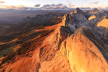 Aerial view of Roda Di Vael at sunset, Catinaccio Group (Rosengarten), Dolomites, South Tyrol, Italy, Europe
