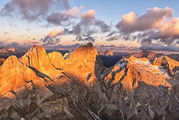 Aerial view of Marmolada, Gran Vernel, Sasso Vernale and Cima Ombretta, Dolomites, Trentino-Alto Adige, Italy, Europe