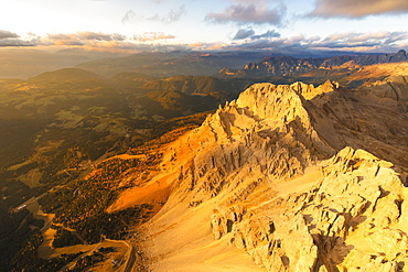 Aerial view of Latemar massif and Obereggen at sunset, Dolomites, South Tyrol, Italy, Europe