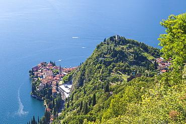 Castello di Vezio above the village of Varenna, Lake Como, province of Lecco, Lombardy, Italy, Europe