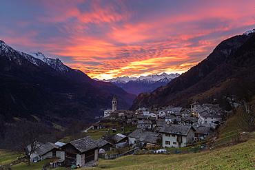 Sunset over the alpine village of Soglio, Bregaglia Valley, Maloja Region, Canton of Graubunden (Grisons), Switzerland, Europe