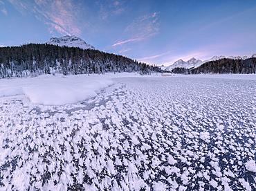 Panoramic of ice crystals at Lej da Staz, St. Moritz, Engadine, Canton of Graubunden (Grisons), Switzerland, Europe