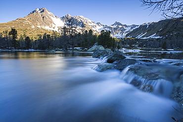 Lago Viola, Corn da Camp and Piz Paradisin in the background, Val di Campo, Poschiavo region, Canton of Graubunden, Switzerland, Europe