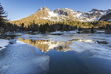 Spring thaw at Lago Viola, Val di Campo, Poschiavo region, Canton of Graubunden, Switzerland, Europe