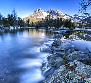 Panoramic of Lago Viola at sunrise, Val di Campo, Poschiavo region, Canton of Graubunden, Switzerland, Europe