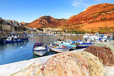Fishing boats at the harbor, Castellammare del Golfo, province of Trapani, Sicily, Italy, Mediterranean, Europe