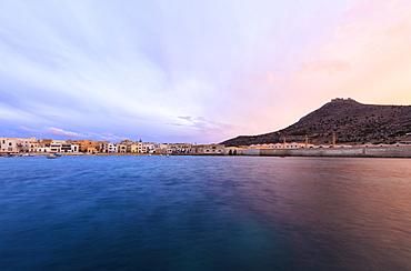 Harbor at sunset, Favignana island, Aegadian Islands, province of Trapani, Sicily, Italy, Mediterranean, Europe