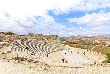 Greek amphitheatre, Segesta, Calatafimi, province of Trapani, Sicily, Italy, Europe