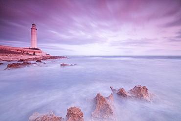 Lighthouse at sunset, Capo Granitola, Campobello di Mazara, province of Trapani, Sicily, Italy, Mediterranean, Europe