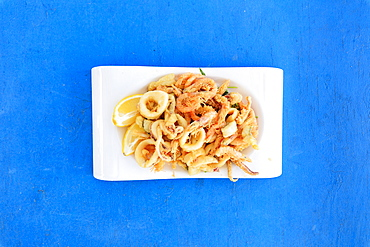 Fried seafood on platter, Sicily, Italy, Europe