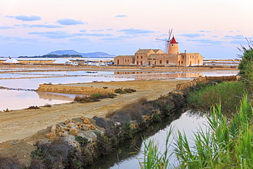 Saline dello Stagnone at sunrise, Marsala, province of Trapani, Sicily, Italy, Mediterranean, Europe