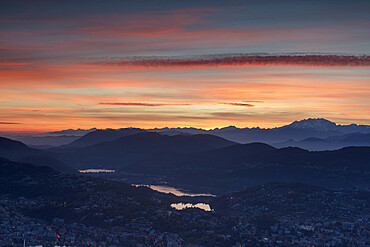 Lugano and Monte Rosa at sunset seen from Monte Bre, Canton of Ticino, Switzerland, Europe