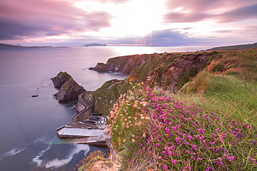 Sunset on Dunquin pier (Dun Chaoin), Dingle Peninsula, County Kerry, Munster province, Republic of Ireland, Europe