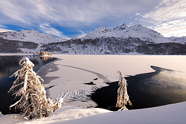 Frozen Lake Sils, Plaun da Lej, Maloja Region, Canton of Graubunden, Engadine, Switzerland, Europe