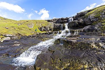 Tyggjara waterfalls, Kaldbakbotsnur, Streymoy Island, Faroe Islands, Denmark, Europe
