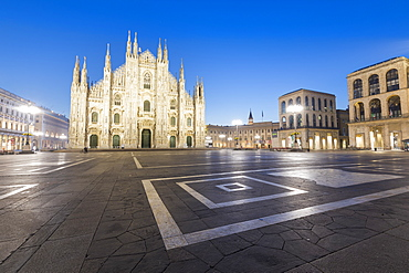 Facade of the Gothic Milan Cathedral (Duomo) at dusk, Milan, Lombardy, Italy, Europe