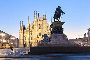 Statue of Vittorio Emanuele II monument and Milan Cathedral (Duomo), Milan, Lombardy, Italy, Europe