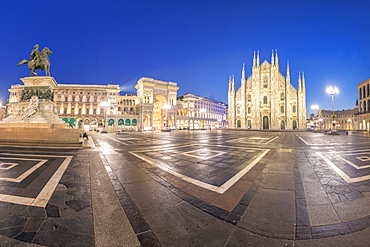 Panoramic of Milan Cathedral (Duomo) and Galleria Vittorio Emanuele II at dusk, Milan, Lombardy, Italy, Europe