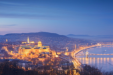 View over the city at dusk from The Citadel on Gellert Hill, Budapest, Hungary, Europe