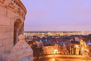 City at sunset seen from Fisherman's Bastion, Budapest, Hungary, Europe