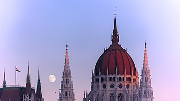 Panoramic of the dome and spire of Parliament Building, Budapest, Hungary, Europe