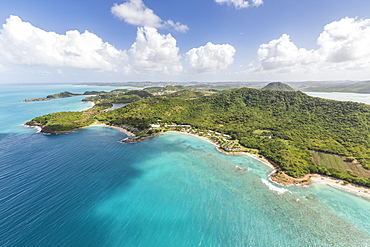 Aerial view of the rugged coast of Antigua full of bays and beaches fringed by dense tropical vegetation, Antigua, Leeward Islands, West Indies, Caribbean, Central America