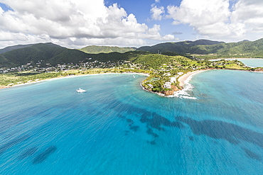 Aerial view of the small peninsula that houses Carlisle Resorts luxurious paradise for tourist of Caribbean, Antigua, Leeward Islands, West Indies, Caribbean, Central America