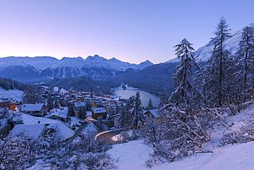 Village and Lake of St. Moritz after a snowfall, Engadine, Canton of Graubunden, Switzerland, Europe