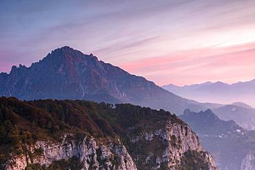 Grigna meridionale at sunrise seen from Monte Coltignone, Lecco, Lombardy, Italian Alps, Italy, Europe