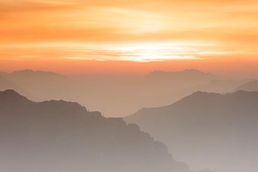 Sunrise on the Bergamo Orobie Alps seen from Monte Coltignone, Lecco, Lombardy, Italian Alps, Italy, Europe