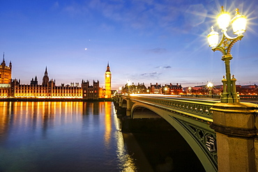 View of Big Ben and Palace of Westminster, River Thames and Westminster Bridge at night, London, England, United Kingdom, Europe