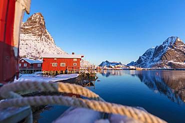 Traditional fisherman's huts (Rorbu), Reine Bay, Lofoten Islands, Nordland, Norway, Europe