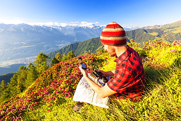 Hiker sitting near rhododendrons on Pizzo Berro looks at the compass and map, Bitto Valley, Lombardy, Italy, Europe