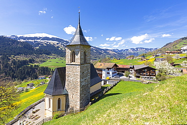 Church of Luzein, Prattigau-Davos region, Canton of Graubunden, Switzerland, Europe