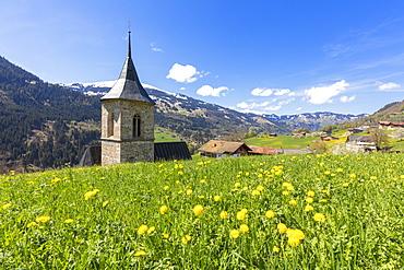 Bell tower surrounded by wildflowers and meadows in spring, Luzein, Prattigau-Davos region, Canton of Graubunden, Switzerland, Europe