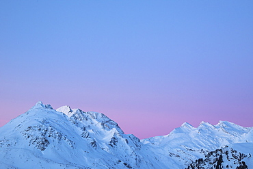 Sunrise on snowy Piz Duan and Val Maroz, Bregaglia Valley, Engadine, Canton of Graubunden, Switzerland, Europe