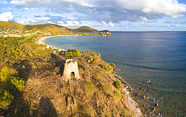 Panoramic of Cades Bay and ruin of old sugar mill, Antigua and Barbuda, Leeward Islands, West Indies, Caribbean, Central America