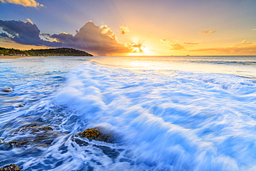 Sunset on waves of the rough sea, Galley Bay Beach, Antigua, Antigua and Barbuda, Leeward Islands, West Indies, Caribbean, Central America