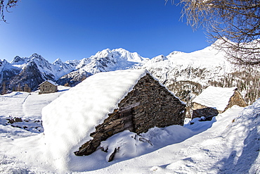 Hut covered with snow with Monte Disgrazia on background, Alpe dell'Oro, Valmalenco, Valtellina, Lombardy, Italy, Europe
