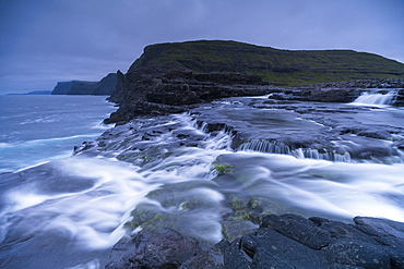 Bosdalafossur Waterfall, Vagar island, Faroe Islands, Denmark, Europe