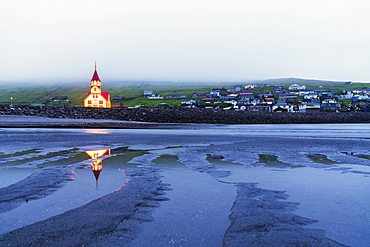 Church of Sandavagur at dusk, Vagar island, Faroe Islands, Denmark, Europe
