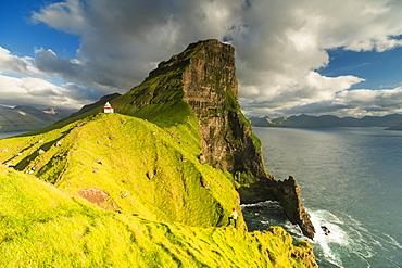 Kallur lighthouse, Kalsoy island, Faroe Islands, Denmark, Europe