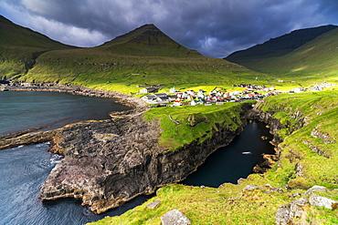 Coastal village of Gjogv, Eysturoy island, Faroe Islands, Denmark, Europe