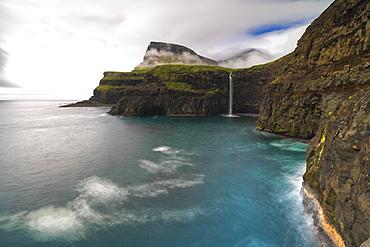 Waterfall of Gasadalur, Vagar island, Faroe Islands, Denmark, Europe