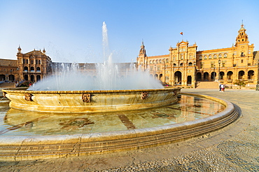 Vicente Traver fountain facing the central building of Plaza de Espana, Seville, Andalusia, Spain, Europe
