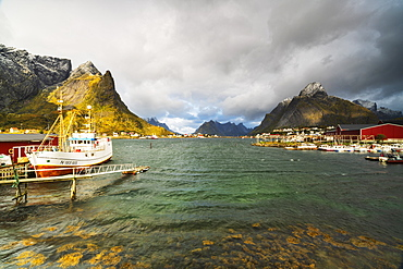 Fishing boats in the harbor, Reine, Nordland, Lofoten Islands, Norway, Europe