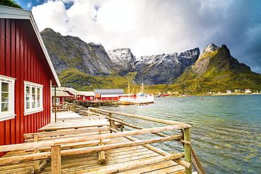 Harbor and typical rorbu, Reine, Nordland, Lofoten Islands, Norway, Europe